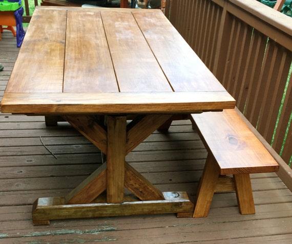 Outdoor Trestle Style Dining Table by OnPointWoodDesign on  : il570xN753894411tga4 from etsy.com size 570 x 476 jpeg 67kB