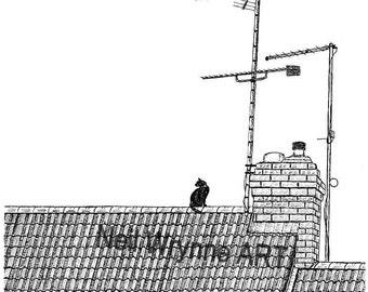 "Black Cat Art print, Illustration Pen and Ink Print ""Aerial View"" 3.5"" × 3.5"" Limited edition print Cat drawing Digital Print Art"