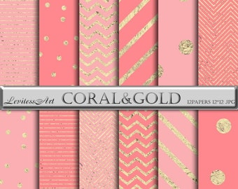 Coral and Gold Digital Paper, pink Foil confetti background with Stripes, Chevron for scrapbooking