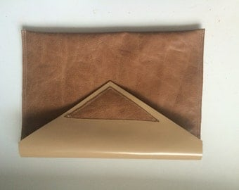Glossy real leatherand tan leather clutch removable strap