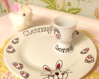 Easter Bunny Footprint Plate & Egg Cup Breakfast Set