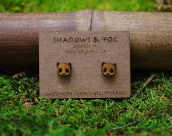panda laser cut bamboo stud earrings