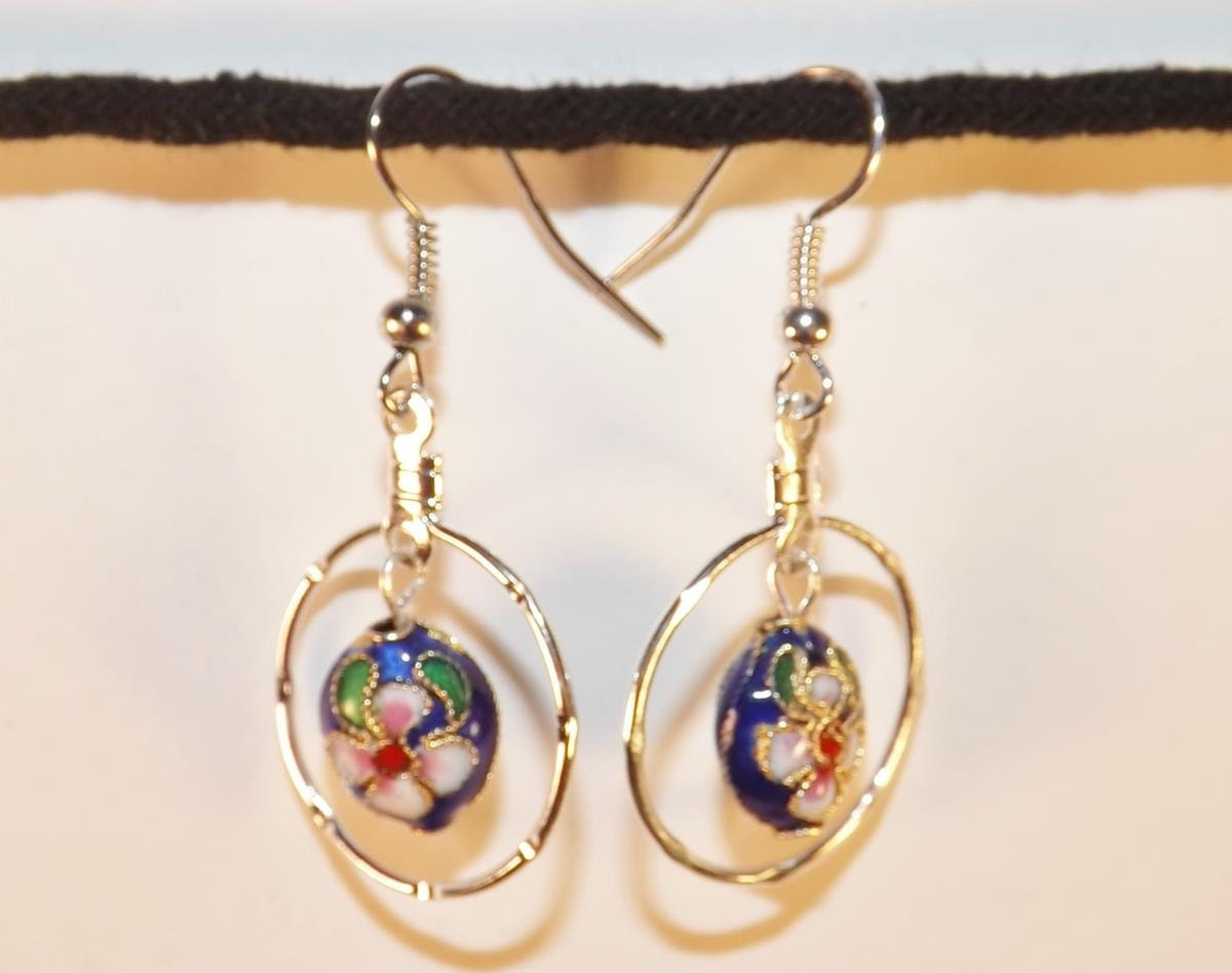 blue cloisonne bead earrings colorful cloisonne