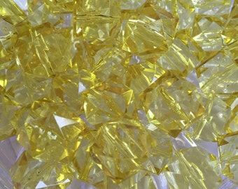 Yellow Cube 20mm Transparent Beads- 10pc Chunky Bubbelgum Beads