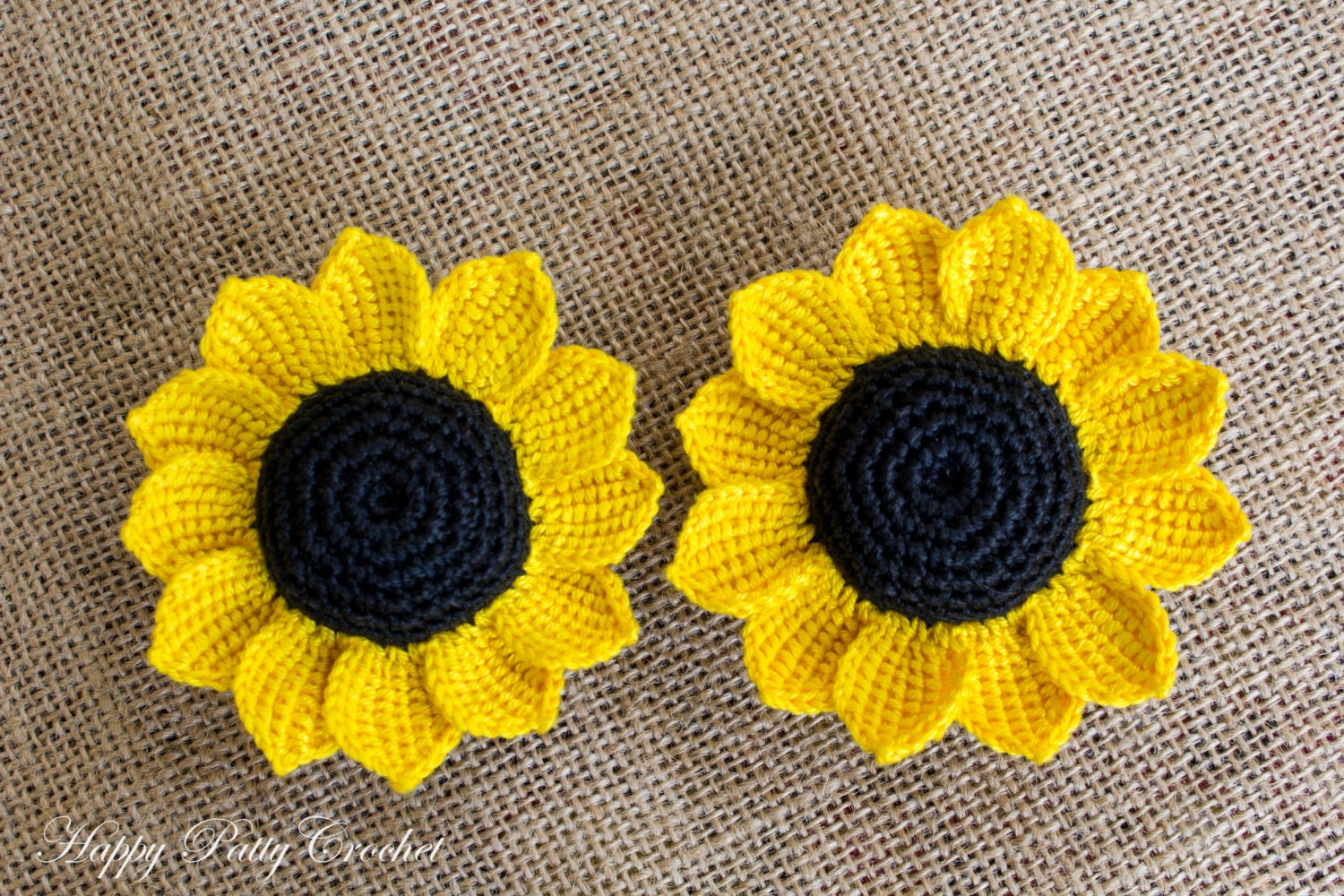 Cartoon Crochet Sunflower Pattern Three Crochet Flowers