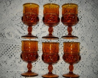Indiana Glass King Crown Thumbprint Amber Goblets - Set of 6