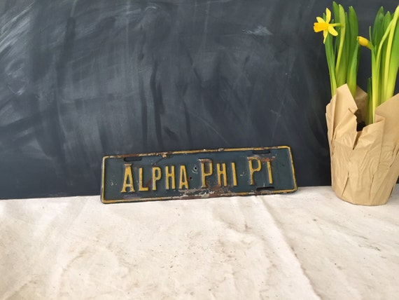 Vintage alpha phi pi metal raised letter by youbetyourglassetc for Raised metal letters