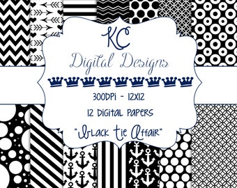 Digital Paper Packs - 12x12 - 300dpi - Black Tie Affair / Black and White - INSTANT DOWNLOAD