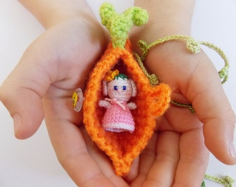 Crochet carrots,cover,crochet bunny, Small Crochet Amigurumi Bunny Rabbit in Orange Carrot Purse/ Stuffed Toys