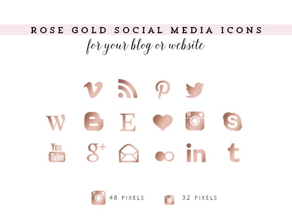 Rose Gold Social Media Icons for your Blog by