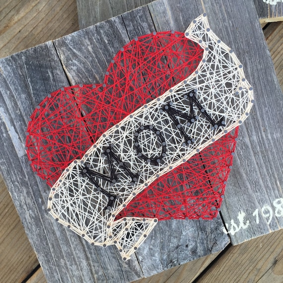 "Made to Order - Mom- Nail and String Art - 10""x10"""