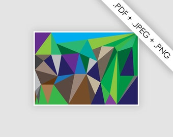 Poster abstract landscape, digital file, geometric illustration, instant download, A3 poster, A3 printable, wall decor art print, art print