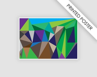 Abstract landscape art poster, print, geometric illustration, poster, wall decor art, large abstract panoramic, digital print