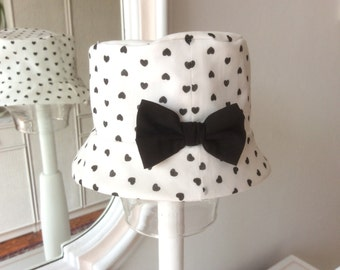 Hat black and white cotton mis 38 cm