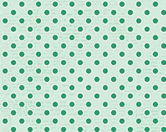 Polka Dots, Light Turquoise Blue Green, All My Heart Valentine's Fabric by Iron Orchid Designs for Clothworks.