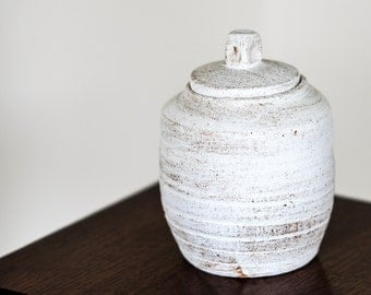 White Rustic Lidded Jar