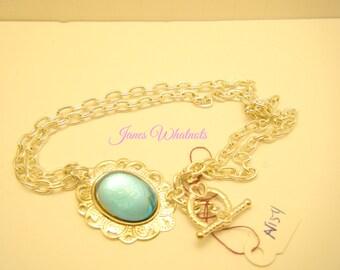 Blue  Pendant - Blue Necklace - Blue Cabochon