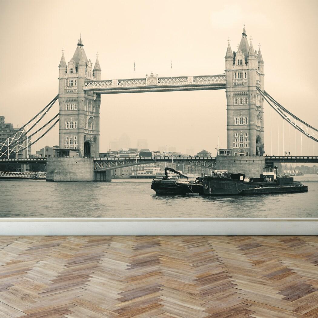 Wall mural london tower bridge peel and stick repositionable for Bridge wall mural