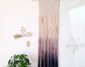 Macrame wall hanging, cotton on walnut stained wood dowel. Ombre lavender to dark blue. Chunky square shape. Copper beads. Item #19