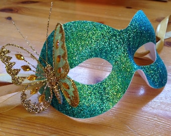 Green Glitter Mask Christmas Masked Ball Butterfly & Ribbon Ties