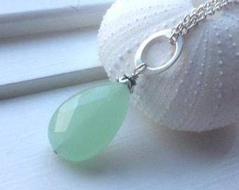 Large Green Chalcedony  Pendant,  Chalcedony  Necklace, sterling silver,  natural gemstone, green gemstone, aqua gemstone