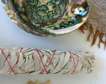 White Sage Smudge Kit, Abalone shell, Frankincense tears, Cleansing purifying clearing native wiccan incense gift smudging