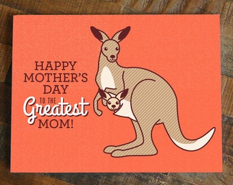 Cute Mothers day card, happy mother's day, cute kangaroo in pouch, animal card, sweet mother's day card, card for mom, love mom card