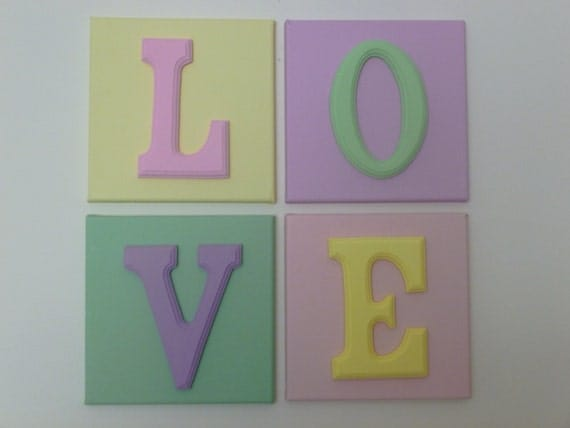 Items similar to pastel colored love wood letters on for Wooden letters on canvas
