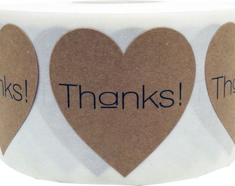 """1.5"""" Thanks! Natural Kraft Heart Stickers 