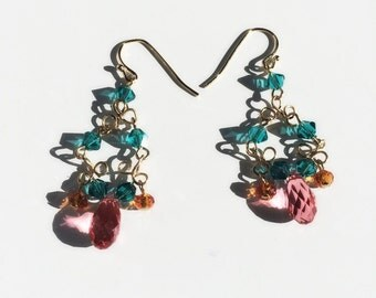 Swarovski blue zircon,padparadscha,tangerine earrings