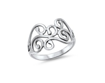 Filigree Abstract Ring Sterling Silver 925