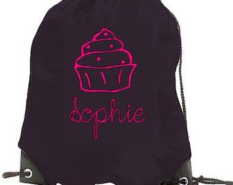 Personalised kids gym bag school bag pe bag - - your name - cupcake design