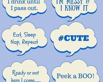 Baby Shower Photo Booth Props Printable DIY 4 Page Creative Boy Design  Print At Home Baby
