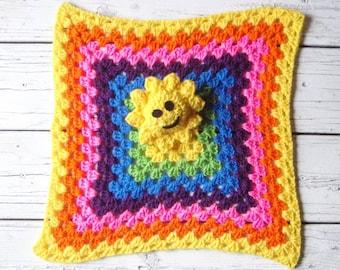 Crochet lovey, lovey blanket, security blanket, baby blanket, baby lovey, sun, rainbow, sunshine, baby shower gift, Amigurumi,stuffed animal