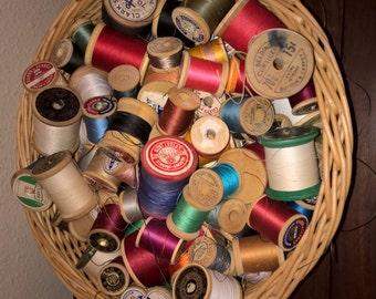5 Wooden Spools of vintage thread