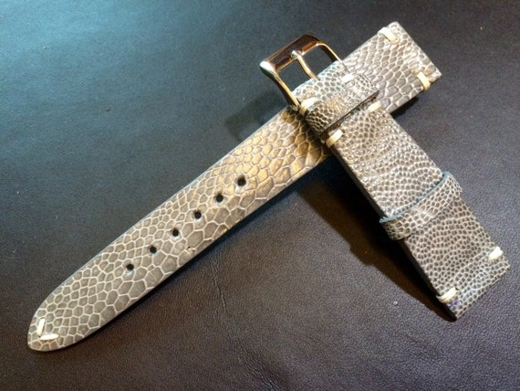 Real leather watch band, Vintage shiny grey Ostrich leg Leather Rolex Strap, handmade watch strap, 18mm/19mm/20mm lug, 16mm buckle