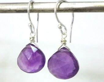 Amethyst Earrings .. Sterling Silver and Amethyst Earrings .. Amethyst Jewelry .. Handmade Jewelry .. February Birthstone