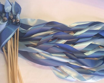 100 Wedding wands royal blue and light blue ribbon wands with bells send off ribbon