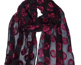 Black/Red - Crepe silk devore scarf
