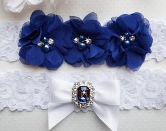 Something Blue Garter Set, Blue Bridal Garter, White Lace Garter Set, Wedding Garter Set, Ivory Garter Set- Style L230