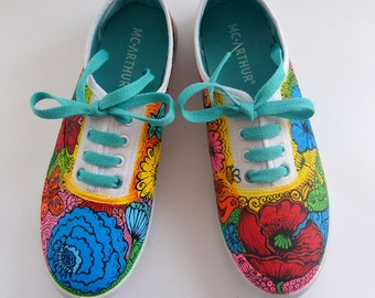 Vans Shoes Colored Sneakers Painted Vans  Summer Womens Shoes Red Poppy Canvas Shoes Flower Painted Shoes Colorful Vans  Red Poppy Vans