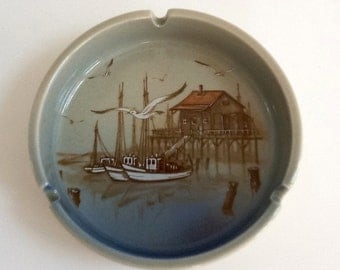Otogari Ashtray, Sailboat Scene, Round Ceramic Ashtray, Made in Japan