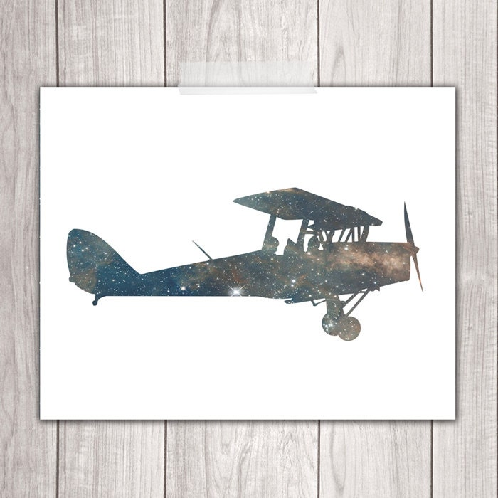 Airplane prints 8x10 airplane wall decor printable nursery for Airplane wall decoration