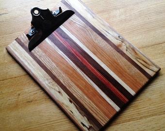 Handmade Striped Wooden Clipboard