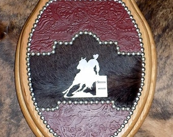 Barrel Racer Western Toilet Seat with Leather and Cowhide Ready to Ship today