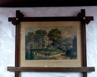 "Vintage CURRIER & IVES Lithograph Print  ""A New England Home""  - Print shop at 125 Nassau St. NY - Wood Framed"