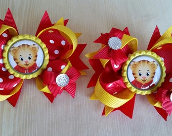 Daniel Tiger's Neighborhood girls hair bows. Set of 2. Perfect for piggy tails :)