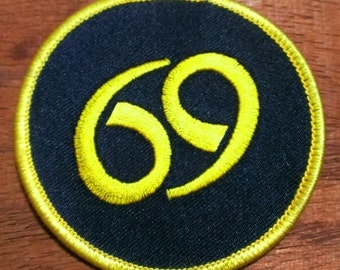 """Vintage 1970's """"69"""" Embroidered Patch"""