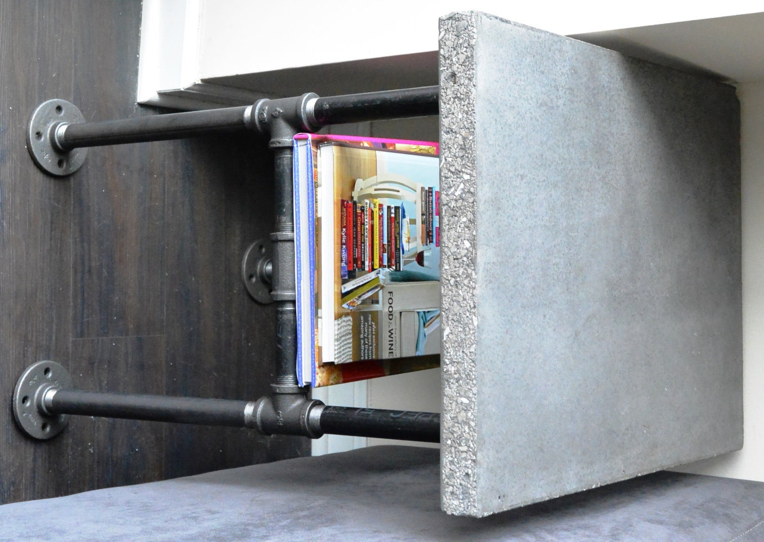 Industrial concrete and plumbing pipe side table