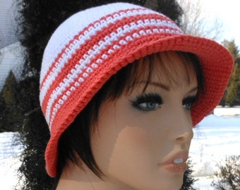 Crochet cotton sun hat, summer white with coral brim cap, ladies vacation accessory for spring and summer, beach wear of lightweight cotton
